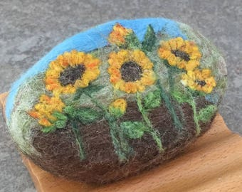 Felted Goat Milk Soap - Sunflower Field Themed Scented with a Fresh Picked Garden Herb and Floral Fragrance