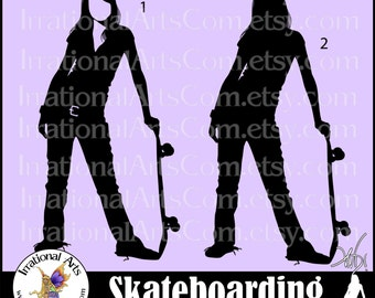 Skateboarding Girls Pose 1, 2 & 3 - 3 EPS and SVG Vinyl Ready files 3 png digital graphics with small commercial license [Instant Download]
