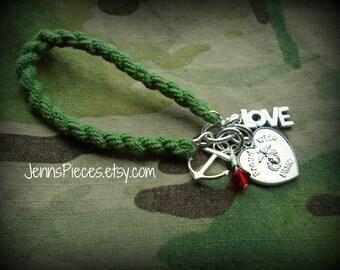 BRACELET: Poud Wife USMC Boot Band Blouser Bracelet SSG64 Marines Marine girlfriend Semper fi military army navy national guard soldier ega