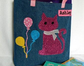 Kitty Tote Bag|Personalized Tote Bag|Preschool Bag|Toddler Bag|Children's Book Bag|Easter Gift Bag|Kids Gift Bag|Denim Tote Bag