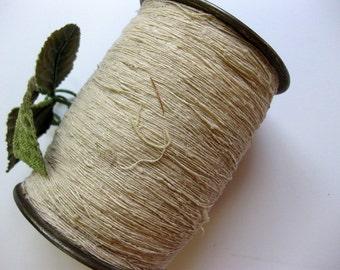 Vintage Large, Chunky Metal Spool of Thread, Celanese, Natural Thread