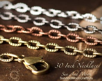 20 ~ (NEW) Textured Etched Chain Oval Link Necklaces ~ 30 Inch Lengths ~ Mix and Match ~