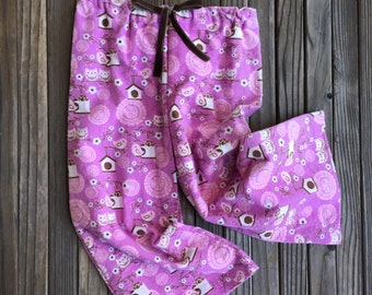 Pink Owl Flannel Girls Pants, Cotton, Girl, Baby, Pink, Owls, Birds, Forest, Woods, Flannel, Velvet, Fashion, Pants