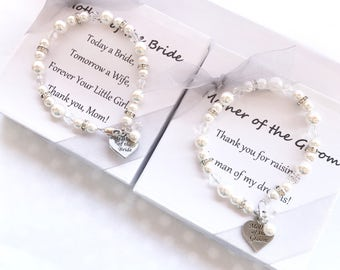 2 Mother of the Bride & Groom Pearl Bracelet // mother of the groom bracelet, mothers gift bracelet, mother of the bride jewelry, white pear