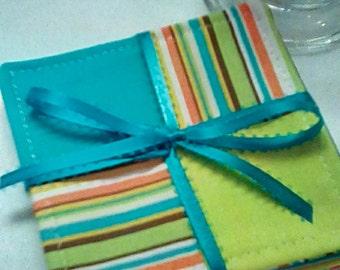 Mug Rug Set of 4, BRIGHT STRIPES , Fabric Coasters, Handmade, Hostess Gift, Free Shipping in US