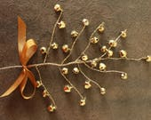 Miniature Old Gold Bell - Whimsical Jingle Bell Decorating Spray for the Holidays - Tiny Doll House Christmas Bells - Millinery Bell Pick