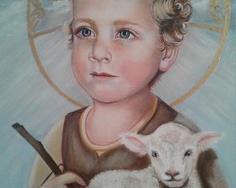 "Christ Child, Infant Jesus, Lamb of God, Savior 16""x20"" Original Acrylic Painting, on Canvas, One of a Kind, Catholic Art, Signed"