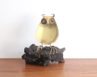 Modern Metal Owl Sculpture on Burl Base