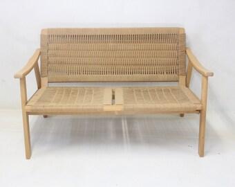 Danish Modern Han Wegner Style Rope Love Seat Couch
