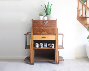 Art Deco Mission Arts and Craft Desk / Bar with Starburst Front