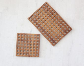 Pair of Danish Modern Wood Trivet