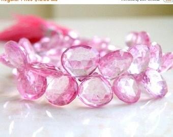 Black Friday Sale Pink Topaz Gemstone Briolette Mystic Faceted Heart Teardrop 9 to 9.5mm 5 beads