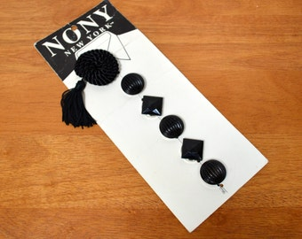 "Vintage Black Button Covers 1980's NONY New York #2023 Accessory - New Old Stock - Metal Backed Geometric - Braided Tassel - 7/8"" and 1 7/8"""