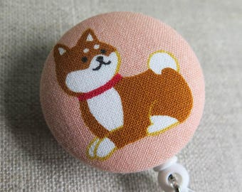 Cute Badge Reel | Retractable Badge Holder,  Nurse Badge Reel, ID Badge Holder, Badge Clip - SHIBA INU