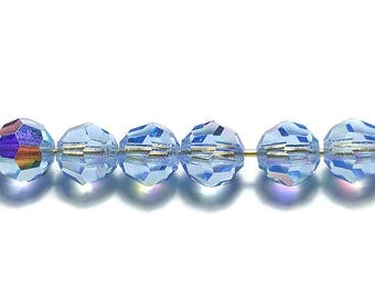 Vintage Crystal Beads 6mm Light Sapphire AB Choose 72 or 144 Pcs.