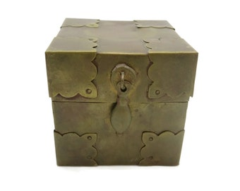 Brass Box - Wood Lined, Treasure Box, Square Small Box