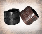 Jagged Celtic Square - Leather Cuff, Leather Wristband, Leather Bracelet, Black Leather Cuff, Celtic Cuff - Custom to You (1 cuff only)