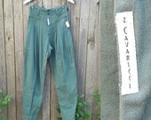 "Vintage Z. CAVARICCI Pants //  Vtg NOS 80s 90s High Waist Pleated Tapered Leg Green Military Inspired Trousers  //  28"" waist"
