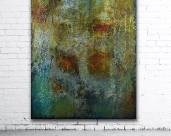 Abstract painting green and blue, Original Abstract Painting Blue textural Painting Sculpted Textured Painting Abstract large painting