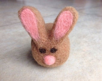 Tan wool felted rabbit Easter home decor