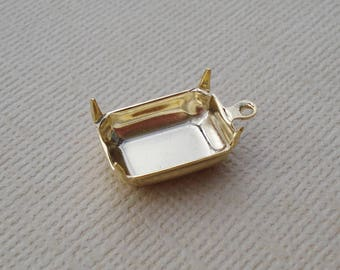 12 Gold Plated Brass 14x10mm Octagon Rectangle 1 Ring Closed Back Rhinestone Prong Settings for Flat Back or Pointed Back Jewels