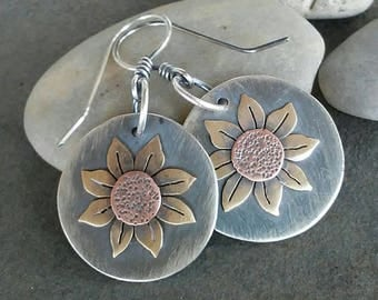 Rustic Handmade-Sterling Silver- Copper- Brass-Sunflower-Earrings-Artisan-Jewelry-OOAK.