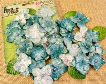 Petaloo Flora Doodles Aqua Blue Velvet Hydrangeas 22 count