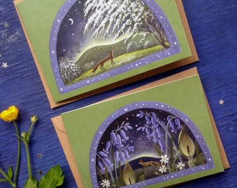 Spring Green Foxes. Greeting Cards x2 Featuring Foxes/Wildflowers/Blossom by Karen Davis