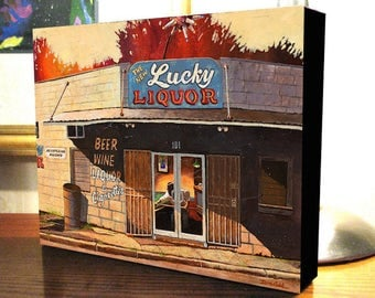 """Shreveport Blues Bar Art """"Lucky Liquor"""" 8x10x1.5"""" and 11x14x1.5"""" Gallery Wrap Canvas Print Signed and Numbered"""