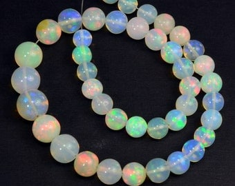 5mm-7.8mm Fine Ethiopian Crystal Opal Plain Round Beads 8.8 inch strand