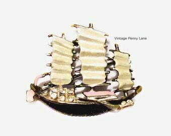 Vintage Enamel Rhinestone Nautical / Ship Brooch / Pin