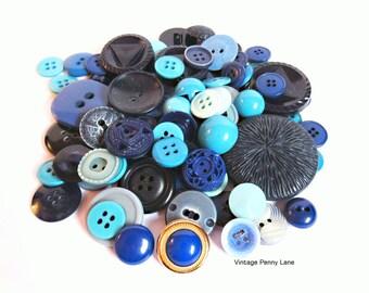 Vintage Blue Plastic Button Lot / 100