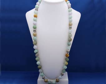 Natural Burmese Jadeite Jade and Thai Hill Tribe Silver Necklace, 12th Anniversary, Genuine Jade, Imperial Jade, Unique Jade Necklace