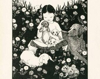 Vintage 1924 About Animals Child's Illustration, Print to Frame with Hilda Conkling Poem, Dorothy Lathrop Illustration, Child's Room
