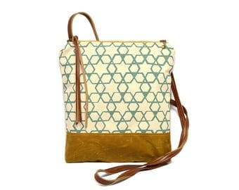 weekdayer • crossbody bag - waxed canvas • aqua geometric hexagon print - brown waxed canvas - gifts under 50 • cross body bag