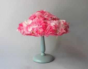 1960s Hat / Vintage 50s 60s Pink Floral Hat / 60s Spring Summer Flower Hat