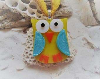 Fused glass OWL Pendant w/ matching silk ribbon~ One Of A Kind (yellow/blue/orange)
