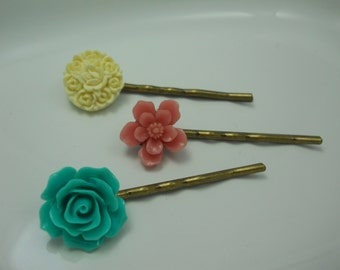Hair Accessory Set of Three Flower Bobby Pins Teal Rose Ivory Molded Plastic Floral Hair Pins