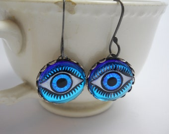 Eye Earrings Vintage Glass Eye Cabochons Blue Eyes on Oxidized Sterling Silver Ear Wires Intaglio Hand Painted Unique