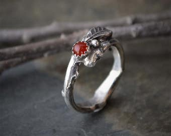 Sterling Silver Twig and Leaf Ring with Carnelian Agate Gemstone