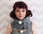 kawaii cute kitty hug cowl cat neko grey gray scarf