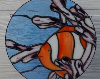 Clownfish in Sea Anemone Stained Glass Art