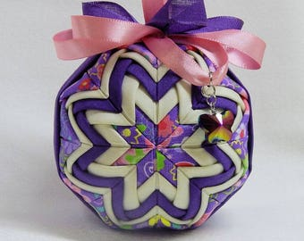 Quilted Ornament w/ Iridescent Butterfly Charm