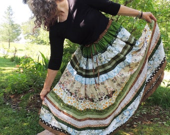 Striped Gypsy Country Peasant Patchwork Skirt