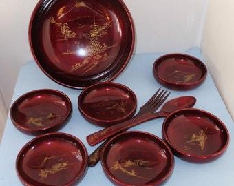 Vintage Lacquerware Set Japan 9 Piece Set Bowls Serving Bowl Serving Fork Spoon