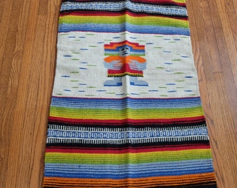 Serape Rug or Wall Hanging Vintage Mexico 1950s or 1960s Unused