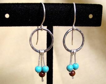Turquoise boho earrings - boho bead earring - turquoise - rustic bead earrings - southwest earrings - blue bead earrings - southwest jewelry