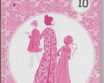 Patterns Pacifica 3015 Vintage Ladies MuuMuu Caftan Pattern Size 10 Luau Resort Hawaiian Dress Mid Century Costume