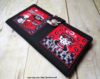 Coffee Handmade Long Wallet BiFold Clutch - Vegan Wallet -  COFFEE wallet in black