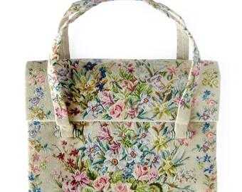 Morabito Fine Needlework Evening Bag or Clutch with Rhinestone Hardware / Petit Point Bag / Paris France Handbag
